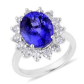 RHAPSODY 950 Platinum AAAA Tanzanite (Ovl 6.50 Ct), Diamond Ring 8.000 Ct.