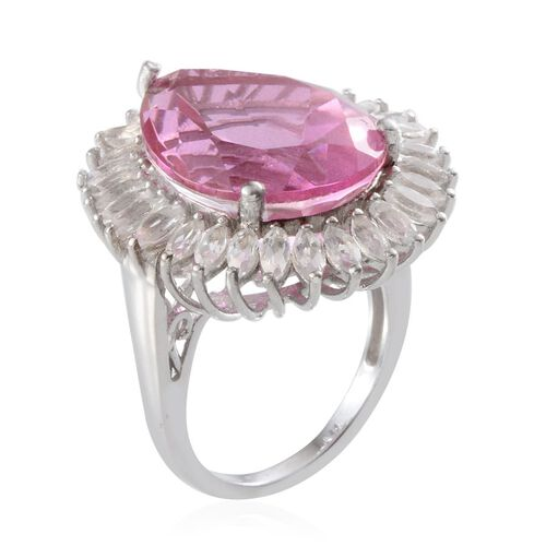 Kunzite Colour Quartz (Pear 18.45 Ct), White Topaz Ring in Platinum Overlay Sterling Silver 21.750 Ct.