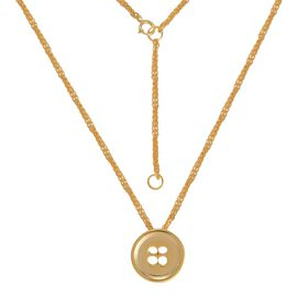 LucyQ Button Necklace (Size 18) in Yellow Gold Overlay Sterling Silver 7.00 Gms.