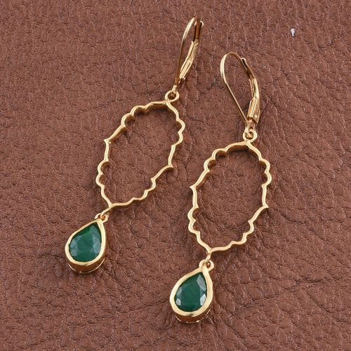 Kimberley Crimson Spice Collection Enhanced Emerald (Pear) Lever Back Earrings in 14K Gold Overlay Sterling Silver 3.150 Ct.