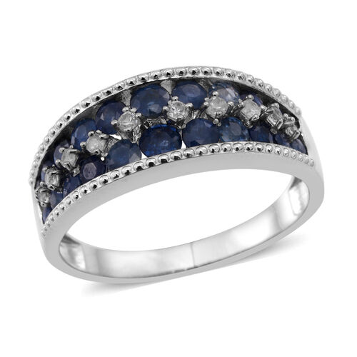 Kanchanaburi Blue Sapphire (Rnd), Natural Cambodian Zircon Ring in Rhodium Plated Sterling Silver 2.530 Ct.