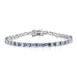 Espirito Santo Aquamarine (Oct) Tennis Bracelet (Size 8) in Platinum Overlay Sterling Silver 9.000 Ct.