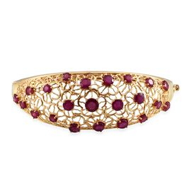 Stefy African Ruby (Rnd 1.33 Ct), Pink Sapphire Bangle (Size 7.5) in 14K Gold Overlay Sterling Silver 10.250 Ct.Silver Wt. 25.00 Gms