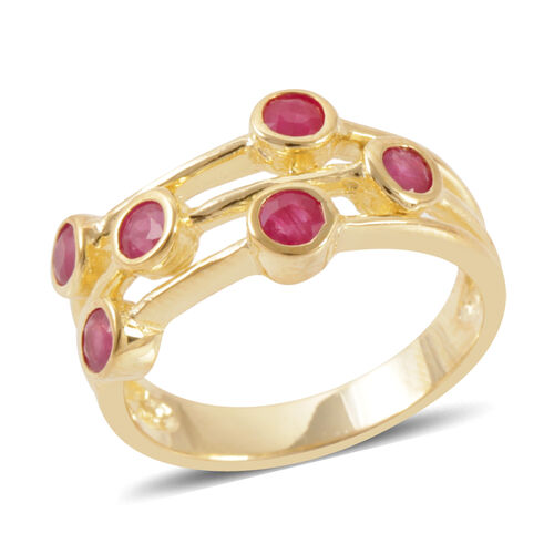 Burmese Ruby (Rnd) Ring in 14K Gold Overlay Sterling Silver 1.500 Ct.
