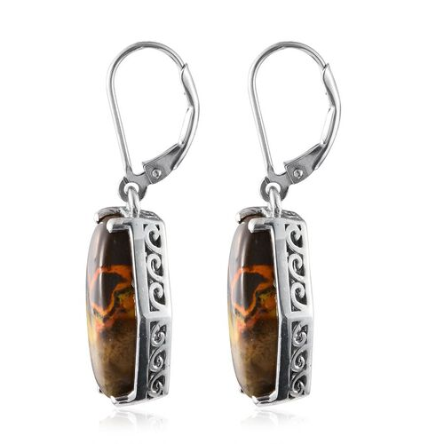 Bumble Bee Jasper Lever Back Earrings in Platinum Overlay Sterling Silver 13.500 Ct.
