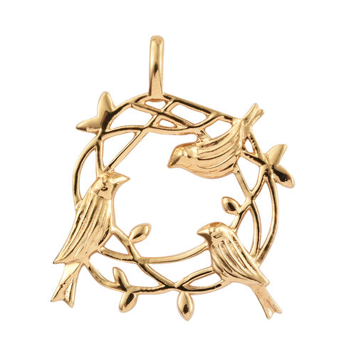 14K Gold Overlay Sterling Silver Birds Nest Pendant, Silver wt 4.72 Gms.