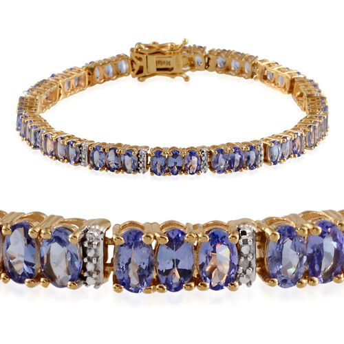 AA Tanzanite (Ovl), Diamond Bracelet in 14K Gold Overlay Sterling Silver (Size 7.5) 11.580 Ct.