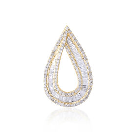 9K Y Gold SGL Certified Diamond (Bgt) Clarity I3 and Colour G to H Tear Drop Pendant 1.000 Ct.