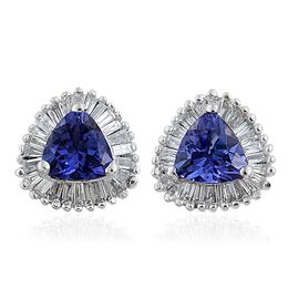 ILIANA 18K White Gold AAA Tanzanite (Trl), Diamond (SI/G-H) Halo Stud Earrings (with Screw Back) 1.250 Ct.