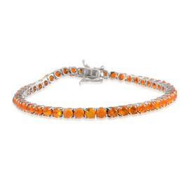Orange Ethiopian Opal (Rnd) Bracelet in Platinum Overlay Sterling Silver (Size 8) 6.750 Ct.