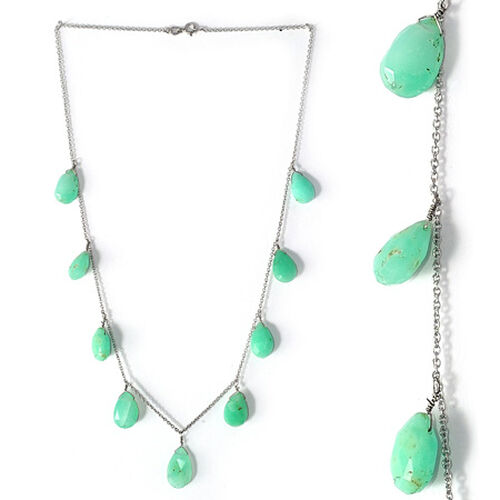 Chrysoprase Necklace in Platinum Overlay Sterling Silver 52.650 Ct.