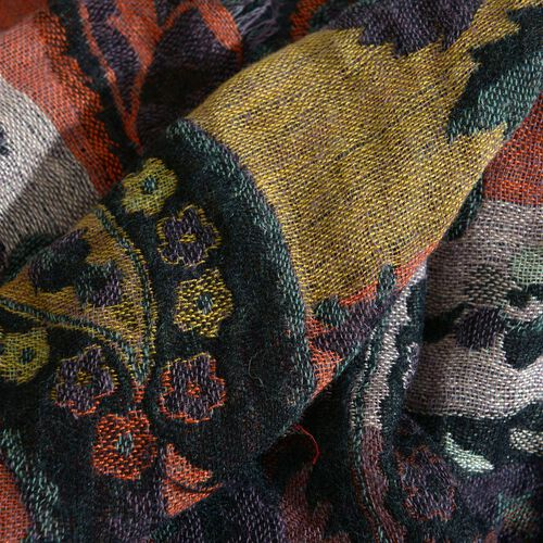 100% Merino Wool Leaves, Floral and Paisley Pattern Orange, Blue and Multi Colour Jacquard Scarf with Fringes (Size 180x50 Cm)