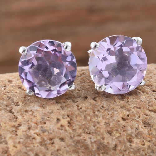 Rose De France Amethyst (Rnd) Stud Earrings (with Push Back) in Platinum Overlay Sterling Silver 5.000 Ct.