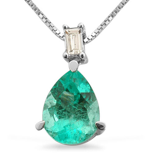 ILIANA 18K W Gold Boyaca Colombian Emerald (Pear 1.15 Ct) and Diamond Pendant With Chain 1.200 Ct.