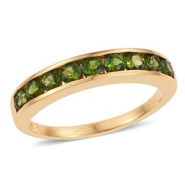 Russian Diopside (Rnd) Half Eternity Band Ring in 14K Gold Overlay Sterling Silver 1.000 Ct.