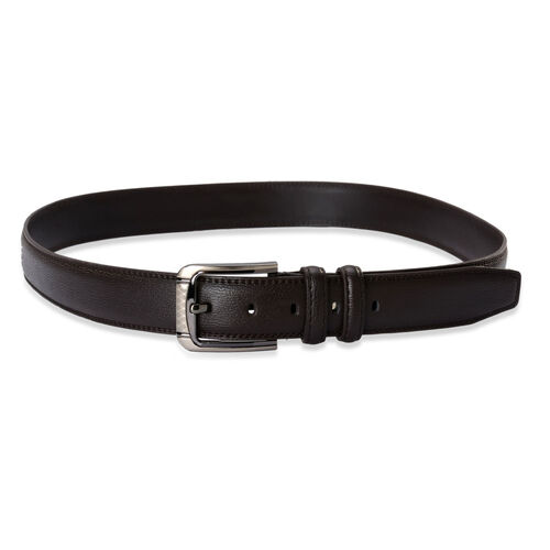 Dark Chocolate Colour Mens Belt with Silver Tone Buckle (Size 45 inch/ Medium)