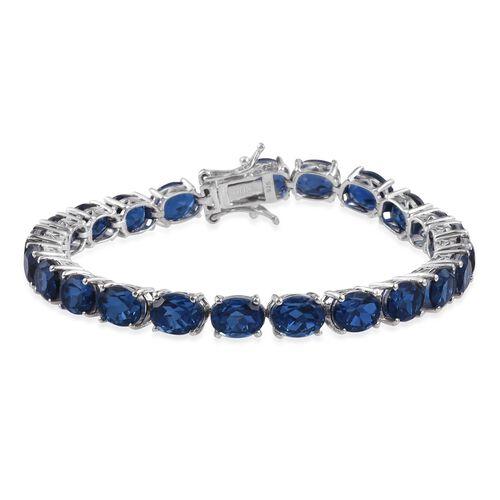 Ceylon Colour Quartz (Ovl) Tennis Bracelet (Size 7.5) in Platinum Overlay Sterling Silver 34.000 Ct.