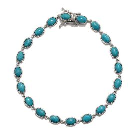 Arizona Sleeping Beauty Turquoise (Ovl) Bracelet in Platinum Overlay Sterling Silver (Size 7.5) 6.250 Ct.