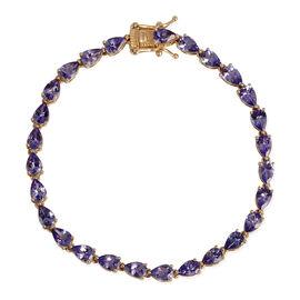 9K Y Gold AA Tanzanite (Pear) Bracelet (Size 7.5) 10.000 Ct.