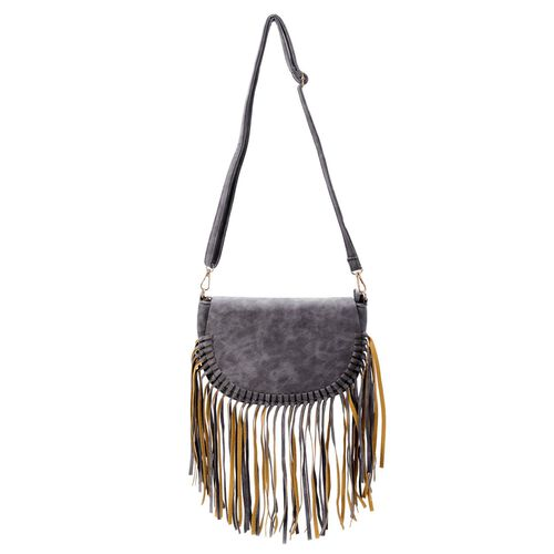 Dark Grey Colour Crossbody Bag with Fringes and Adjustable and Removable Shoulder Strap (Size 25.5x17.5x8.5 Cm)