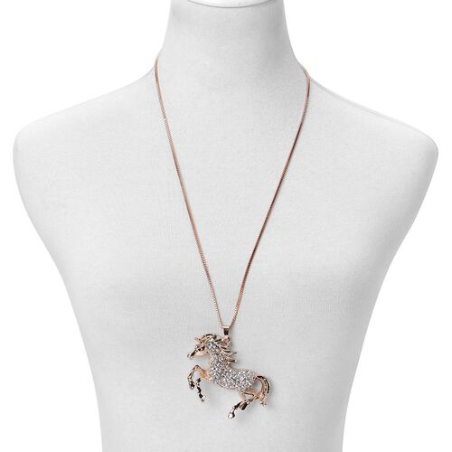 White and Black Austrian Crystal Horse Pendant With Chain (Size 28) in Yellow Gold Tone