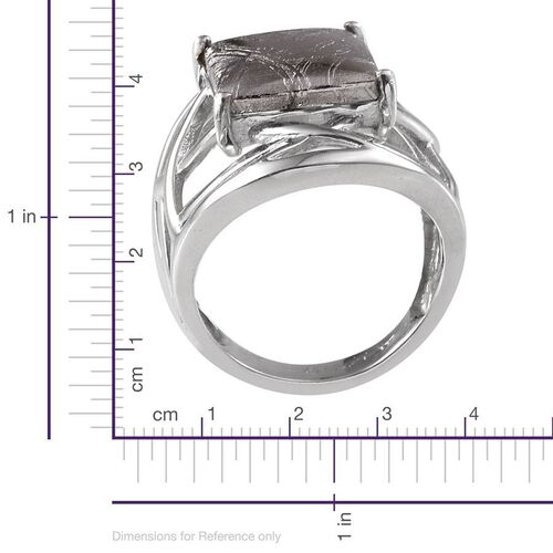 Meteorite (Bgt) Ring in Platinum Overlay Sterling Silver 17.750 Ct.