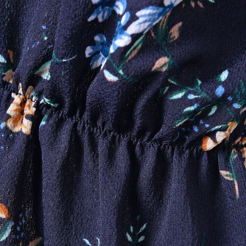 Summer Collection - Navy and Multi Colour Floral Pattern Peplum Top (Small-Medium Size 40X50 Cm)