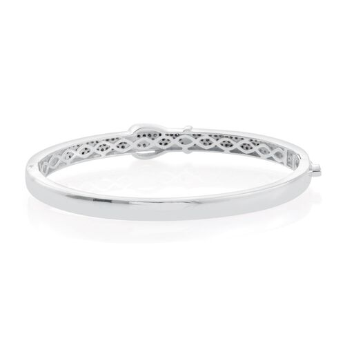 Blue Diamond (Rnd) Buckle Bangle (Size 7.5) in Platinum Overlay Sterling Silver 1.000 Ct. No Of Diamonds Set 100 Pcs.