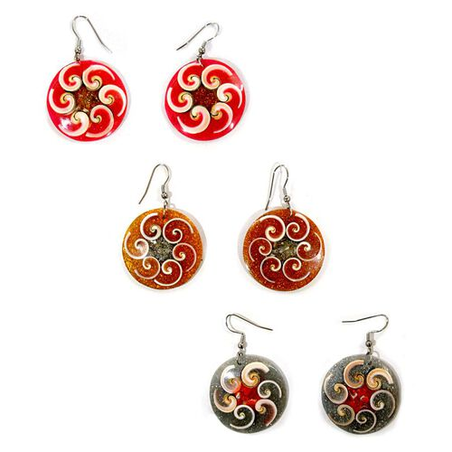 Set of 3 - Royal Bali Collection LABA LABA Shell Hook Earrings in Stainless Steel 168.000 Ct.