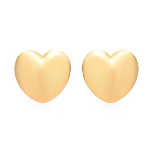 Silver Heart Stud Earrings in Gold Overlay