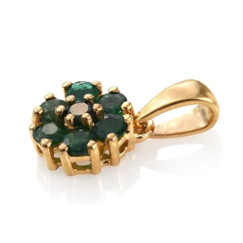 Kagem Zambian Emerald (Rnd) 7 Stone Floral Pendant in 14K Gold Overlay Sterling Silver 0.750 Ct.