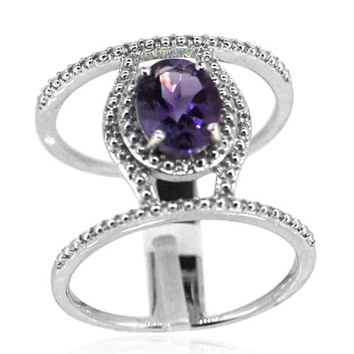 AA Lusaka Amethyst (Ovl 1.60 Ct), White Topaz Ring in Rhodium Plated Sterling Silver 1.620 Ct.