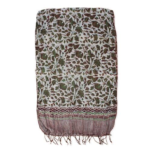 Green Colour Flower 100% Silk Scarf (Size 150x45 Cm)