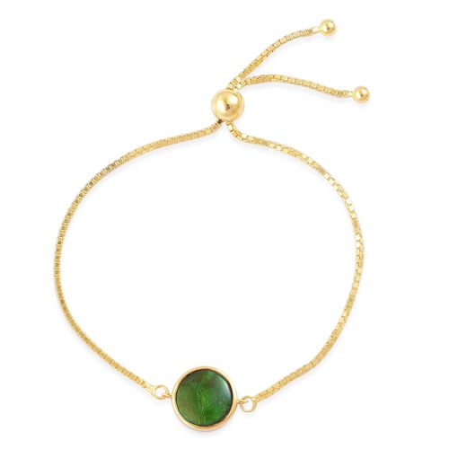AA Canadian Ammolite (Rnd) Adjustable Bracelet (Size 6 to 7.5) in Yellow Gold Overlay Sterling Silver 2.500 Ct.