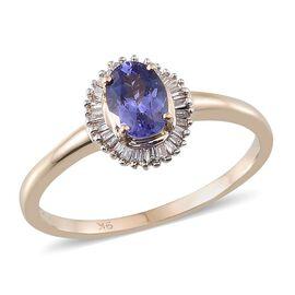 9K Y Gold Tanzanite (Ovl 0.80 Ct), Diamond Ring 1.000 Ct.
