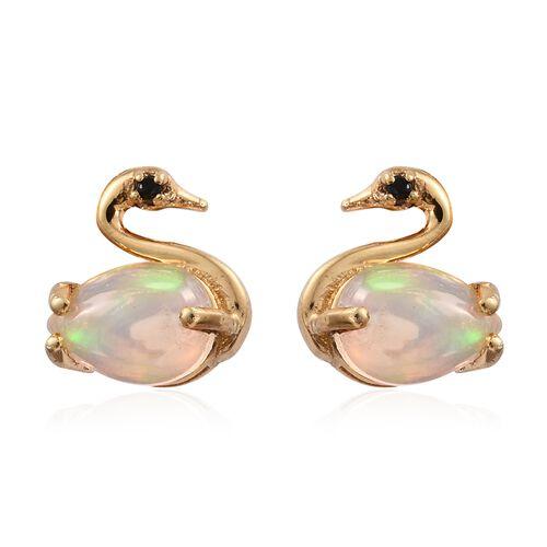 Ethiopian Welo Opal, Black Spinel 0.89 Ct Silver Swan Stud Earrings  in Gold Overlay