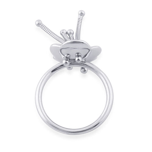 LucyQ Flower Ring in Rhodium Plated Sterling Silver 4.67 Gms.