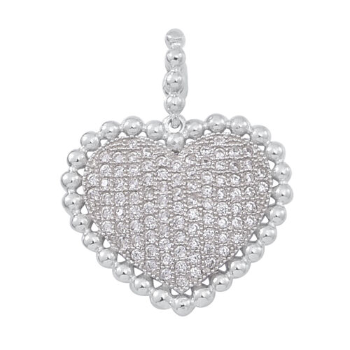 ELANZA AAA Simulated White Diamond (Rnd) Heart Pendant in Rhodium Plated Sterling Silver