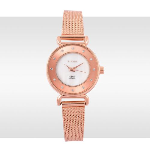 STRADA Genuine Mother of Pearl Japanese Movement Watch - Rose Gold Tone