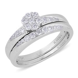 ILIANA 18K White Gold 0.50 Carat Diamond Bridal Ring Set IGI Certified SI G-H.