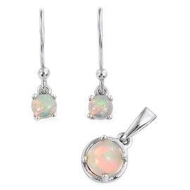 Ethiopian Welo Opal (Rnd) Hook Earrings and Pendant in Platinum Overlay Sterling Silver 1.000 Ct.