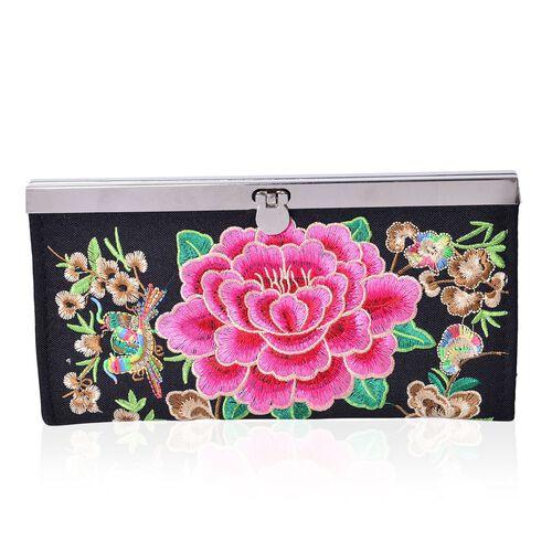 Shanghai Collection Luxury Fuchsia Peony Ladies Wallet (Size 19x9.8x1.5 Cm)