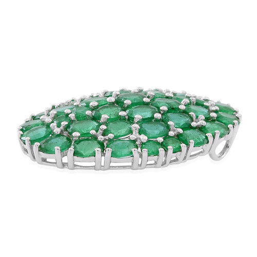 Limited Edition- 9K W Gold AAAA Kagem Zambian Emerald (Ovl) Cluster Pendant 5.500 Ct.