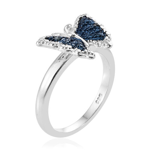 Diamond Platinum Overlay Sterling Silver Ring  0.010  Ct.