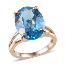 9K Y Gold Electric Swiss Blue Topaz (Ovl) Solitaire Ring 10.000 Ct.