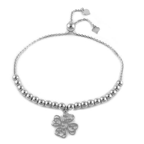 Rhodium Plated Sterling Silver Adjustable Four Leaf Clover Charm Bracelet (Size 6 to 7), Silver wt 4.90 Gms.