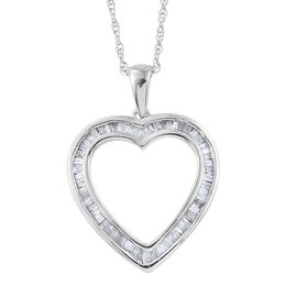 Diamond (Bgt) Heart Pendant with Chain in Platinum Overlay Sterling Silver 0.500 Ct.