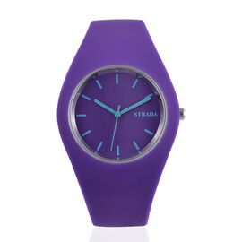 STRADA Japanese Movement Purple Colour Dial Watch with Stainless Steel Back and Purple Silicone Strap