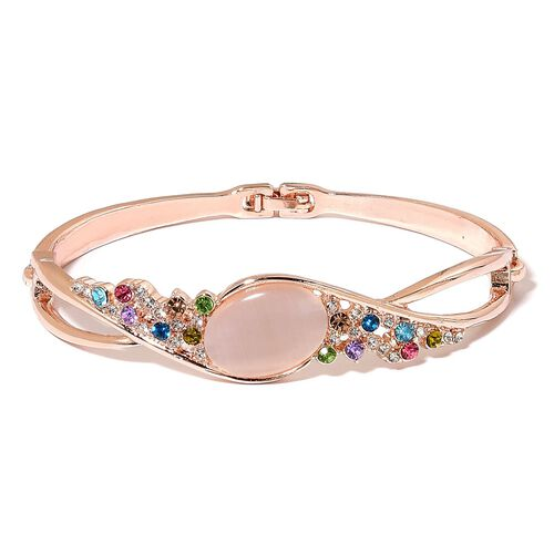 Simulated Cats Eye and Multi Colour Austrian Crystal Bangle (Size 8) in Rose Gold Tone