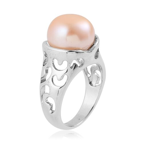 Fresh Water Peach Pearl (13-14mm) Solitaire Ring in Silver Tone